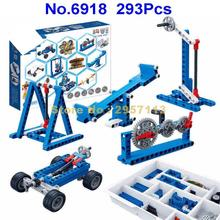 6918 293pcs 56 Types 20 Instructions Technic Power Machinery Gear Educational Building Block Brick Toy(China)