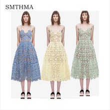 SMTHMA 2017  New arrive  Spring and Summer Runway  Sexy V-neck flower Lace Dress
