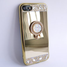 For iPhone 7 Plus Case 5.5'' Mirror Panel Bling Diamond Finger Ring Glitter Cover Drop Proof Lady Make Up Girl Friend Hot Gift