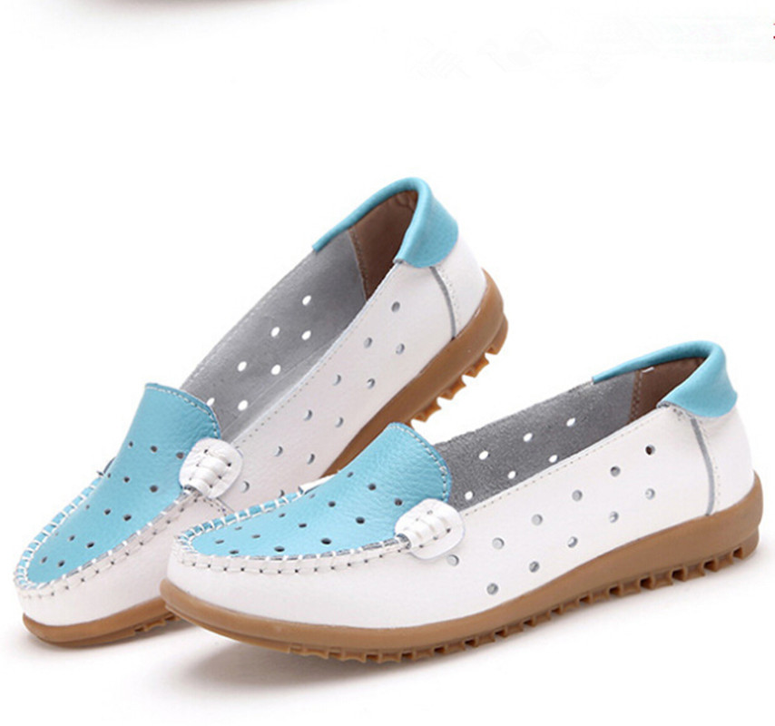 Summer style leather perforated hollow out sandals shoes single shoes loafer leather casual shoes with flat sole<br><br>Aliexpress