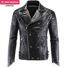 Fashion Men's Winter Leather Jackets Faux Jacket Korean Stylish Slim Fit Coats Men Moto Skull Suede Jacket For Men ,m-5xl ,pa2(China)