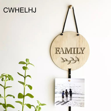 Creative Hollow Carved Wood Chip Wall Hanging Clip photos Nordic Leather Rope Letters Photo wall decoration Photography props(China)