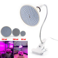 60 126 200 Led Plant Grow Light bulbs for Flower Growing lamp for Indoor greenhouse hydroponic Flexible Lamp Desk Holder Clip(China)