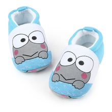 New Arrival Baby Shoes Soft Sole Frog Prints Cotton Infant Toddler Cute Baby Prewalk Crochet Shoes Girls Boys 0-12 Months