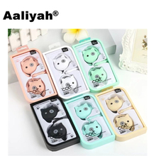 [Aaliyah] 3.5 mm Cute Cartoon Cat Head Earphone Ear Hook Wired Stereo Earphones With Microphone for Girls Kids Mobile Phone MP3