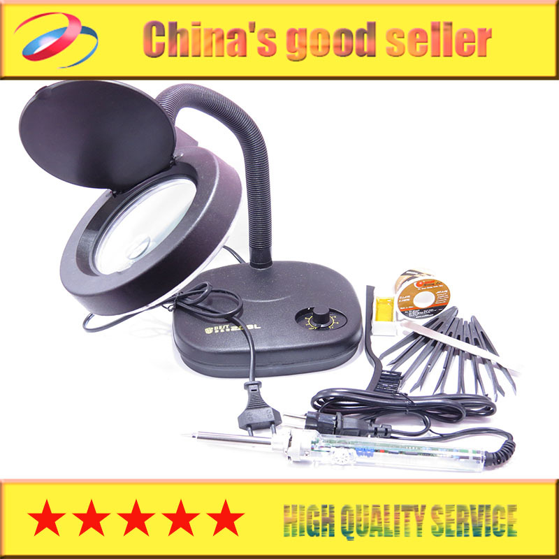 BEST desk lamp 2-20 x magnifying glassLED lamp bead BGA repair tools Auxiliary lamp + GJ907 thermostat soldering iron 60 w +gift<br>