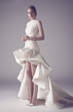 Fashion Vestido De Noiva O Neck Embroidery Ruched High Low Short Front Long Back Wedding Dresses 2016 Gowns Bridal Dress