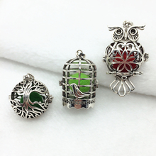 3pcs Vintage Silver Hollow Birdcage Owl Life Tree Trendy Locket Fragrance Essential Oil Aroma Diffuser Pendant Necklace Jewelry