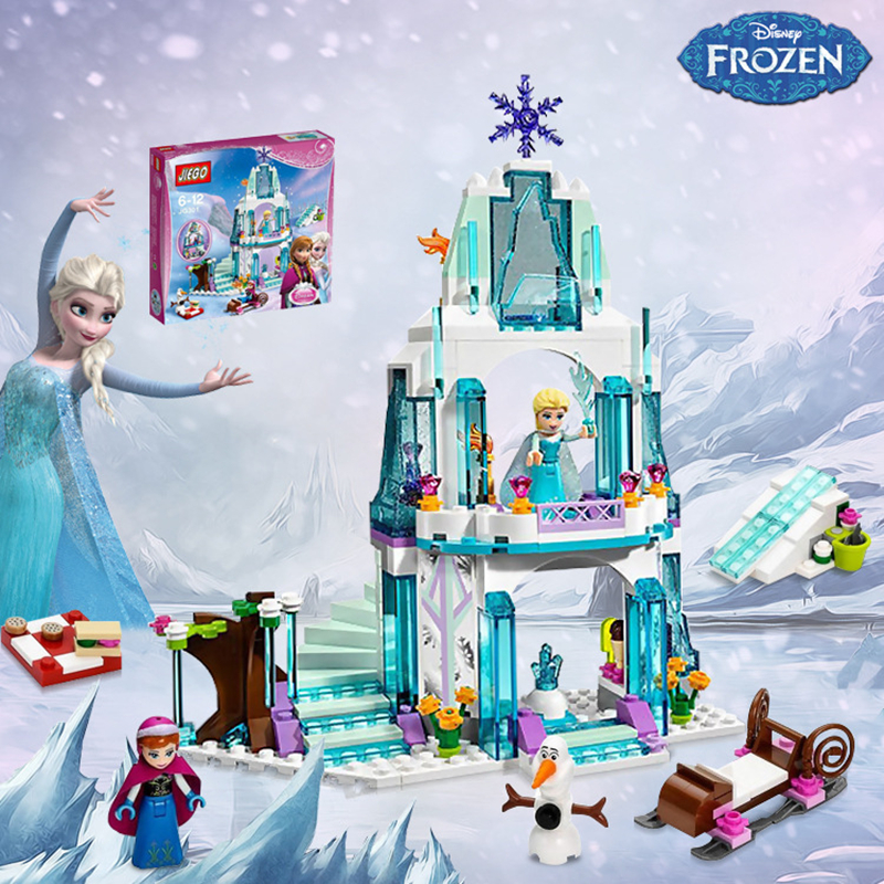 With Original Box Princess Castle Building Blocks Anna Elsa Educational Brick Ice Castle Girl Game Set Gift For Girl 316pcs/lot<br><br>Aliexpress