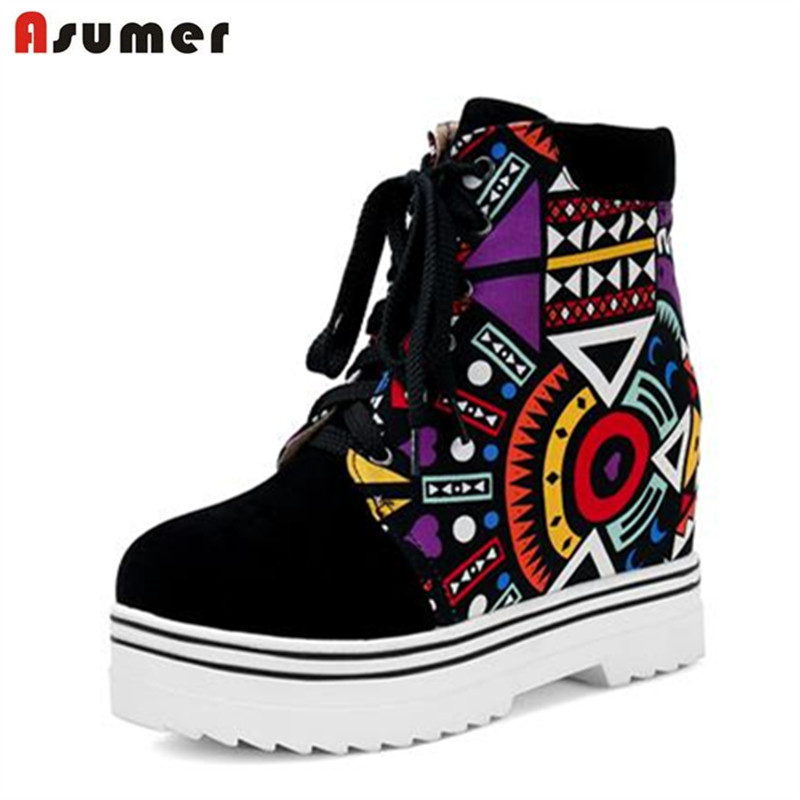 Asumerfootsteps of youth pu + nubuck leather lace up graffiti ankle boots height increasing platform mixed colors women boots<br>