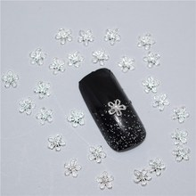 50pcs 3d nail art supplies rhinestone decoration jewelry Silver flower design crystals/acrylic sticker manicure nails tools H036(China)