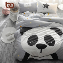 BeddingOutlet Panda Printed Bedding Set Kids Gray Bedspread Duvet Cover Set Comfortable 100% Cotton Bed Set With Flat Sheet 4Pcs