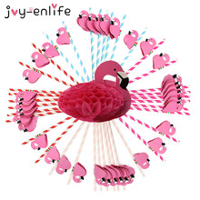 JOY-ENLIFE 12pcs Cute 3D Flamingos With Twill Paper Straws Drinking Straws Birthday Wedding Baby Shower Pool Party Supplies(China)
