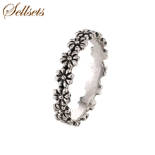 Sellsets Fashion Jewellery Ring Design Antique Silver Color Daisy Flower Vintage Wedding Rings For Women Christmas Party Gift