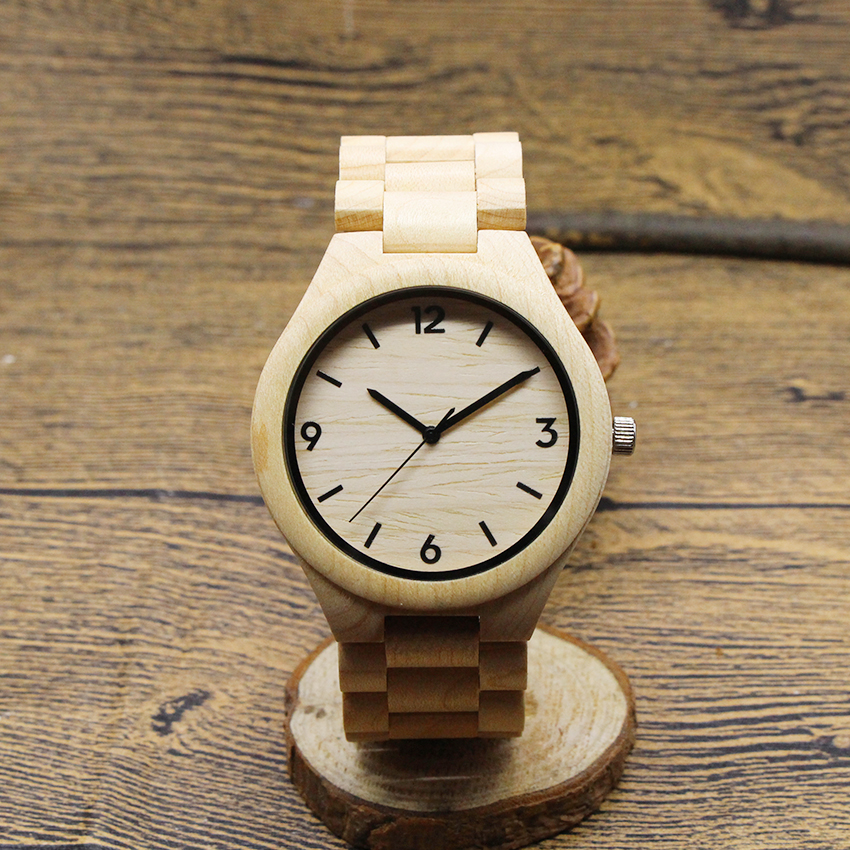 TJW  2017 Mens Bamboo Wooden Wristwatches With Genuine Cowhide Leather Band Luxury Wood Watches for Men as Gifts Item<br>