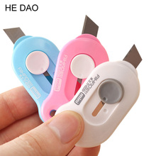 1 PCS Cute Solid Color Mini Portable Utility Knife Paper Cutter Cutting Paper Razor Blade Office Stationery Escolar Papelaria(China)
