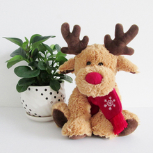 Plush Toy Stuffed Doll Cartoon Animal Children Baby Birthday Gift Christmas Red Nose Snow Scarf ELK Christmas Deer Present 1pc(China)
