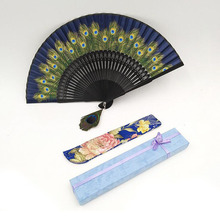 50set/lot Vintage Retro Peacock Folding Fan Hand Bamboo Silk Dance Fans Home Decoration Great Gifts For Friend ZA4942(China)