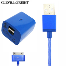 USB Charger Adapter Travel US Plug for iphone 4s 4 Adapter Power & Sync Data Charging Cable for iPhone 4 4s Charger 3G for ipod