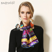 100% Pure Silk Large Square Scarf, BAOSHIDI Luxury Brand original design, multi-option color, manual printing, hand rolled scarf(China)