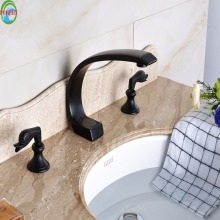 Artistic handlebar Two Handles Bathroom Tub Sink Faucet Basin Mixer Taps Deck Mount 3 Holes(China)