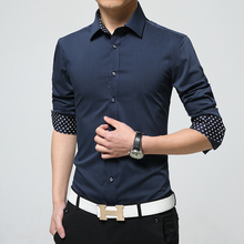 Men's Shirts 2017 New Main Push Men Business Shirt Fashion Long-Sleeved Shirt Men's Casual Solid Color Dress Shirts Slim Blouse