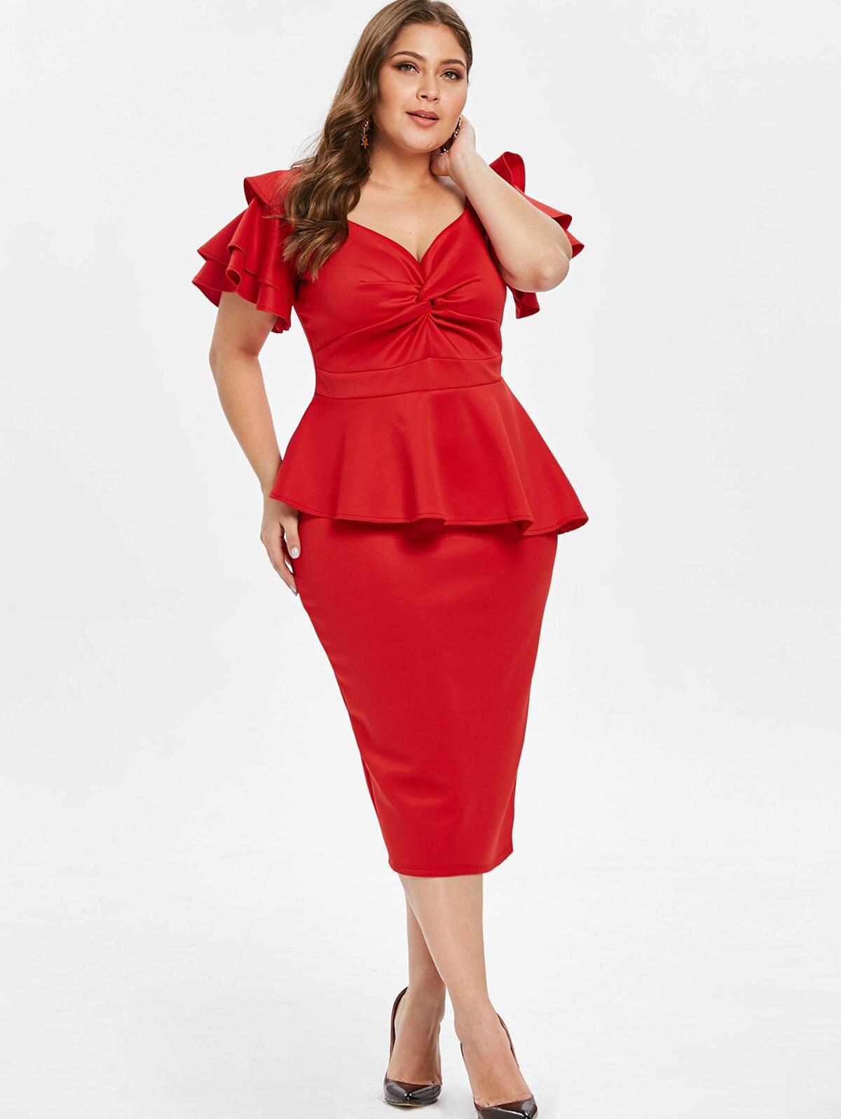 Wipalo Women Sweatheart Neck Twist Front Plus Size Peplum Dress Ruffles  Trim Petal Sleeves Solid Formal OL Dress 5XL Ladies Suit 44654ec248f5