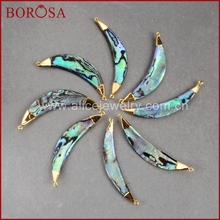BOROSA Fashion and Beautiful Gold Color Curved Surface Crescent Abalone Shell Pendants Connector Double Bail G0690