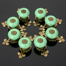 DRELD 8Pcs Furniture Handles Ceramic Cabinet Knobs and Handles Door Cupboard Drawer Kitchen Pull Handle Furniture Fitting Bronze
