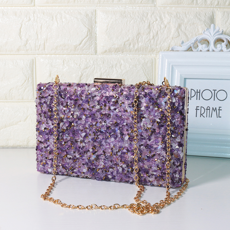 LAUWOO Purple Stone Women Elegant Evening Bags Lady Diamond Banquet Bag Minaudiere Female Wedding Party evening clutch bags<br>