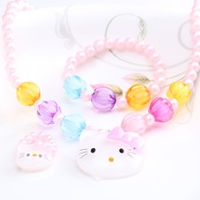 New 1Set=3pcs Girls Accessories Necklace Kitty Cat Bracelet Rings Kids Lovely Jewelry Set Round Beads
