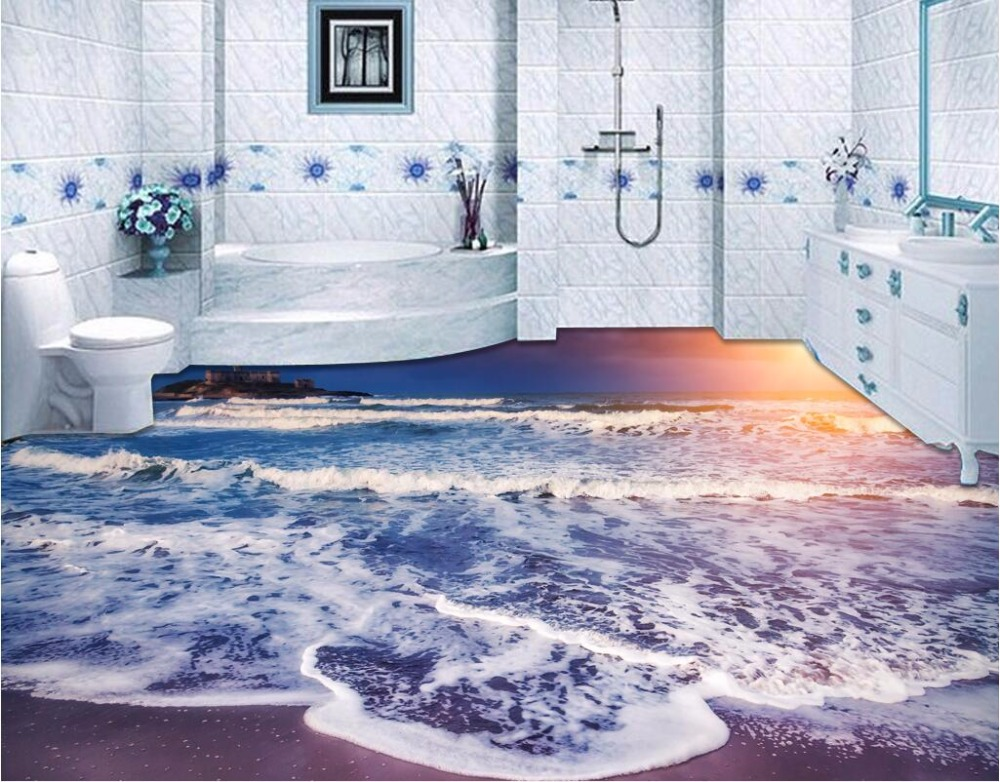 Custom photo 3d pvc flooring self adhesion wall sticker Colorful waves beach water bedroom wallpaper for walls 3 d<br>