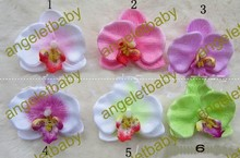 Free Shipping Wholesale 50pcs/lot Orchid Flowers with Hair Clips Girls Head Flower headband Kid's Hair Accessories(China)