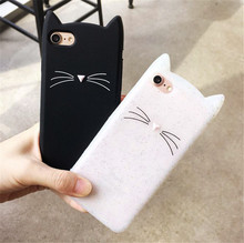 Cute Korea Cartoon Case Black White Cat For iPhone X 7 6S 5 Case Coque Silicon Phone Cases For iPhone8 6 Plus 7Plus Back Cover(China)