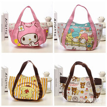 Kawaii Hello Kitty My Melody Little Twin Star Rilakkuma Canvas Shopping Bag Foldable Shoulder Bags Beach Bag Cartoon Tote Bags(China)