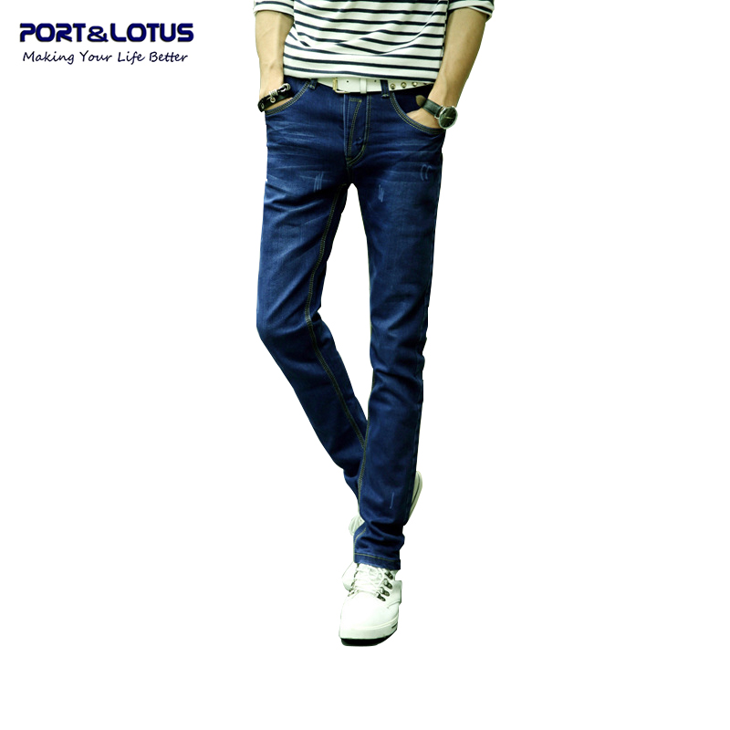 Port&amp;Lotus Fashion Casual Jeans New Arrival With Zipper Fly Solid Color Midweight Pencil Pants Slim Fit Jeans Men 010 wholesaleОдежда и ак�е��уары<br><br><br>Aliexpress