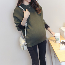 Womens Maternity Sweaters Wool Maternity Winter Oversized Sweater O-neck Pullovers Korean Pregnant Clothes SYHB WUA