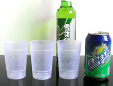 empty plastic cup beer juice tasting lemon cup dinner party picnic soda water food-grade PP material matte texture transparent(China)
