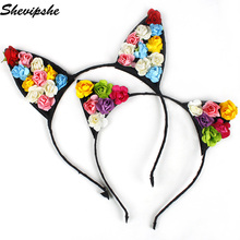 Shevipshe Cute Hair Accessories Women Female Ladies Cat Ears Head Band Flowers Long Ear Headwear Party Costume Girls headband(China)