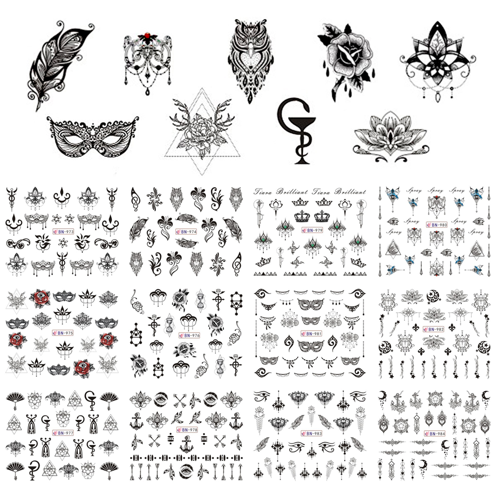 12 Designs Nail Polish Sticker Retro Black Owl Jewelry Flowers Mask Feather Symbol Water Decals Manicure Tattoos BEBN973-984