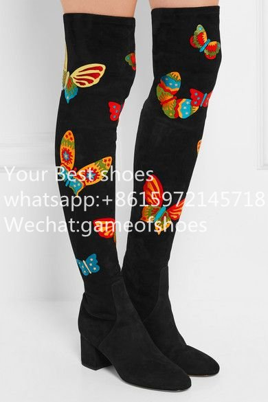 2016 fall embroidered butterflies stretch-suede over-the-knee boots  Black Skintight in velvet-soft suede thigh-high boots<br><br>Aliexpress