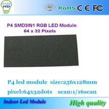 512X512X65mm indoor p4 led display screen board 256X128mm, 64X32 dot RGB full color p4 mm led display module, SMD 1/16 scan,