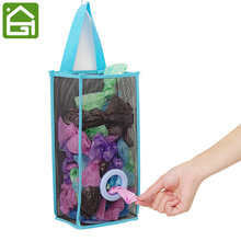 Hanging Mesh Garbage Bag Organizer Dispenser Kitchen Wall Mount Reusable Grocery Bags Holder Net Trash Bag Storage(China)
