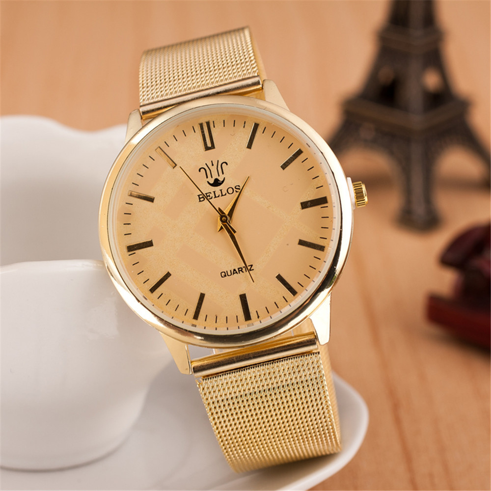 Free Shipping Stainless Steel Fine Mesh Concise Fashion Gold Watch Women Men Wristwatches Quartz Watch Wristwatches<br><br>Aliexpress