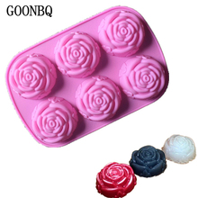 GOONBQ 1 pc 6 Holes Rose Flower Cake Mold Silicone Cookie Fondant Cake Mold Cupcake Soap Biscuit Chocolate Mould