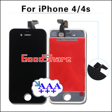 3PCS 100% Check&Test AAA+++ Quality LCD Display For iPhone 4/4s Touch Screen Assembly & Digitizer Replacement Black/White+Gifts