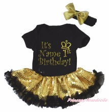 Personalize 1st Birthday Black Bodysuit Gold Bling Sequin Girl Baby Dress NB-18M