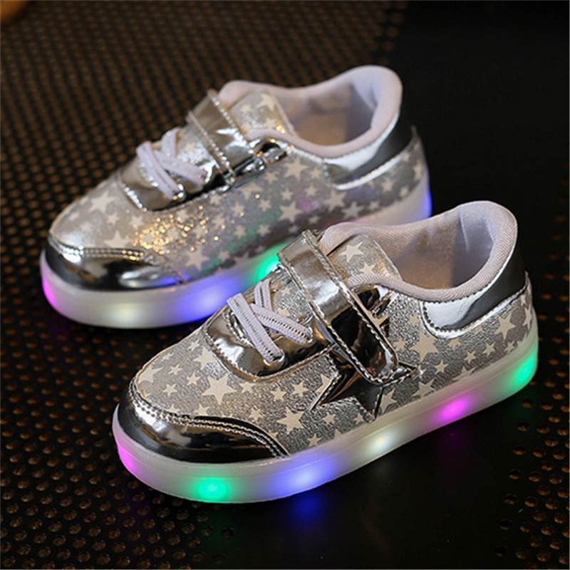 Children Shoes With Light Up 17 Star Printed Unisex Led Light Kids Baby Girls Boys luminate Sneakers Size 21-30 5