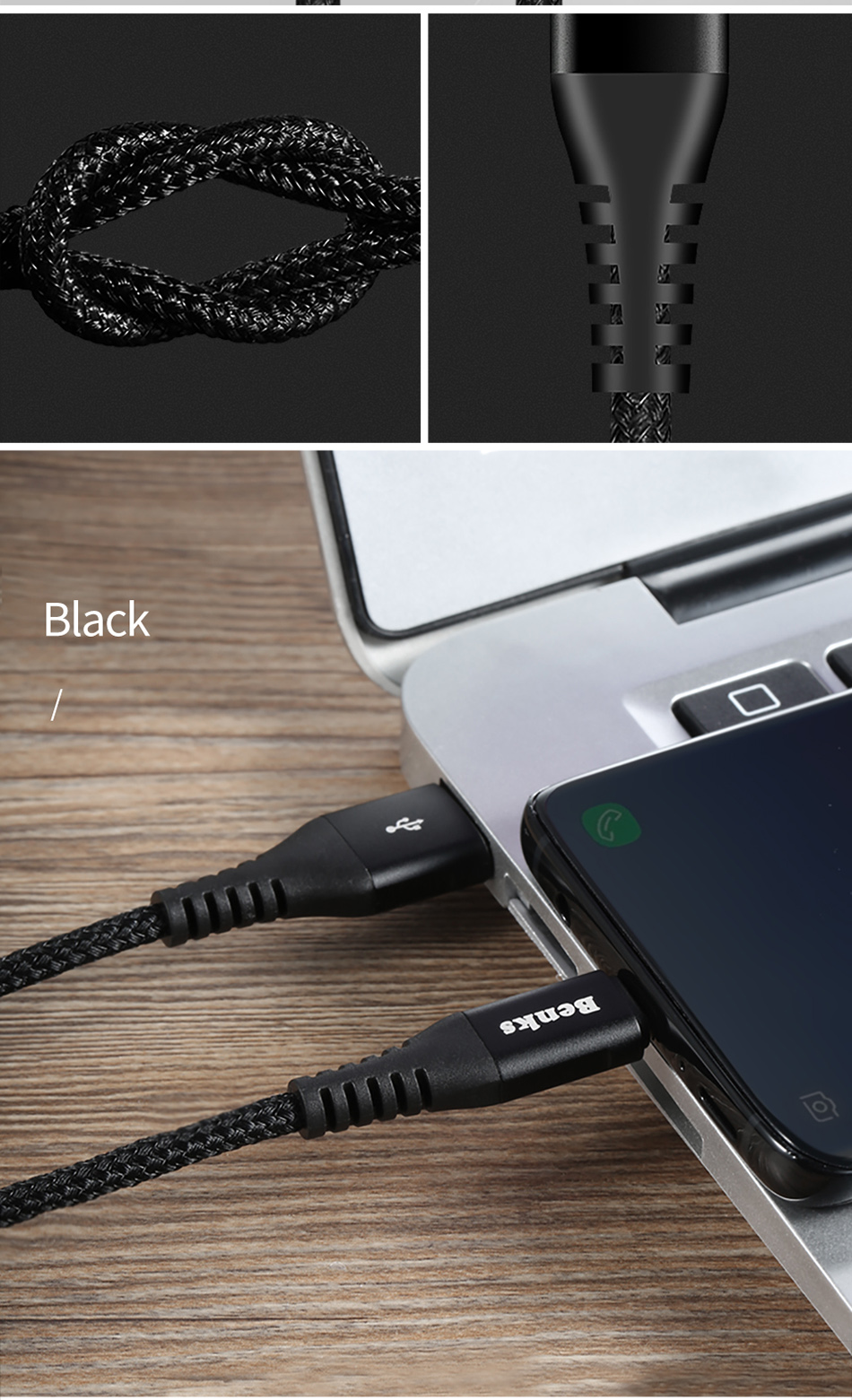 Benks Nylon USB Type C Fast Charging Cable For Samsung S8 S9 Huawei P10 P9 Plus Xiaomi 6 5 Android  Phone 5A Charger Cables 1 (12)