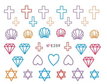 Direct manufacturers 3D nail stickers stickers E259-269 Korea Manicure diamond crosses the New South Korea(China)